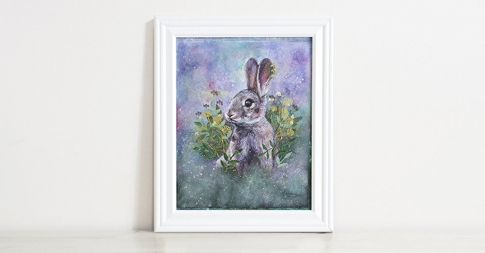 Fairytale Tattoo Brave Badass Bunny Watercolor Animal Portrait