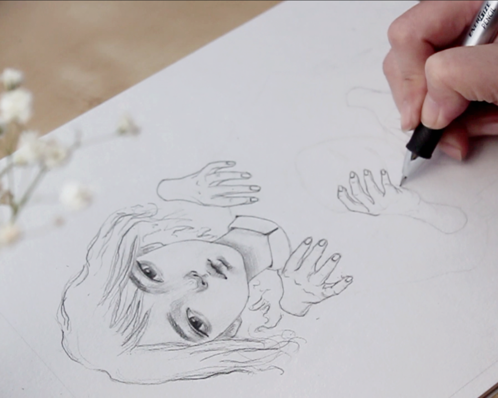 Mysterious Hands on Girl Portrait Drawing