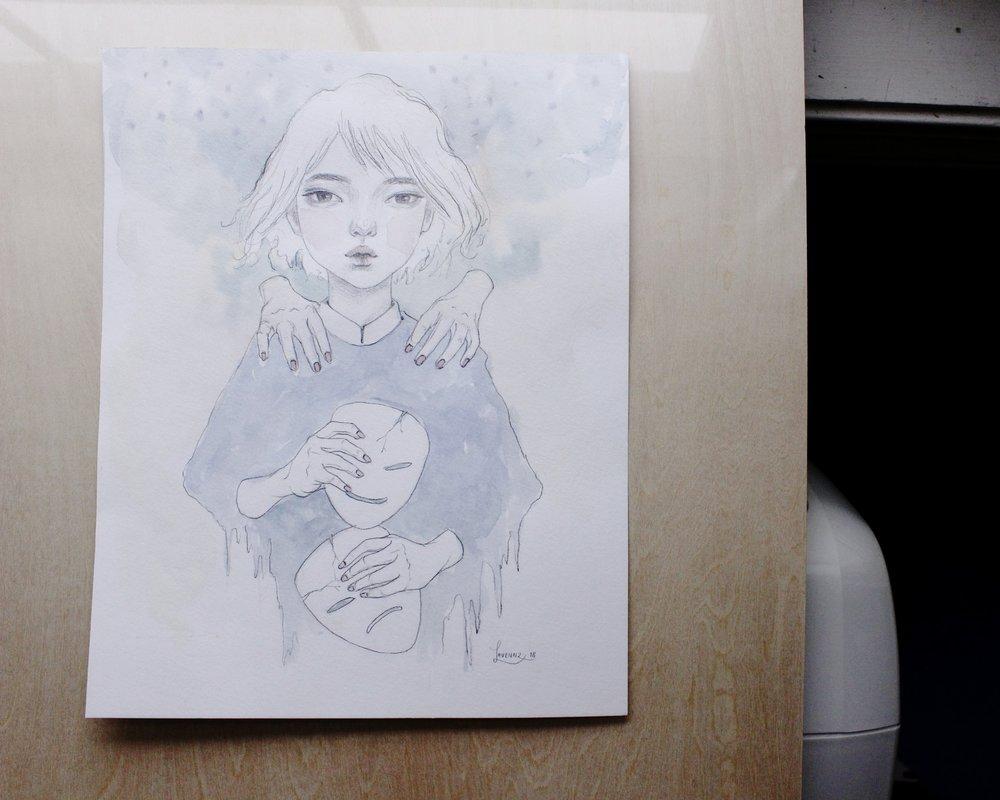 Watercolor Graphite Children Portrait Drawing