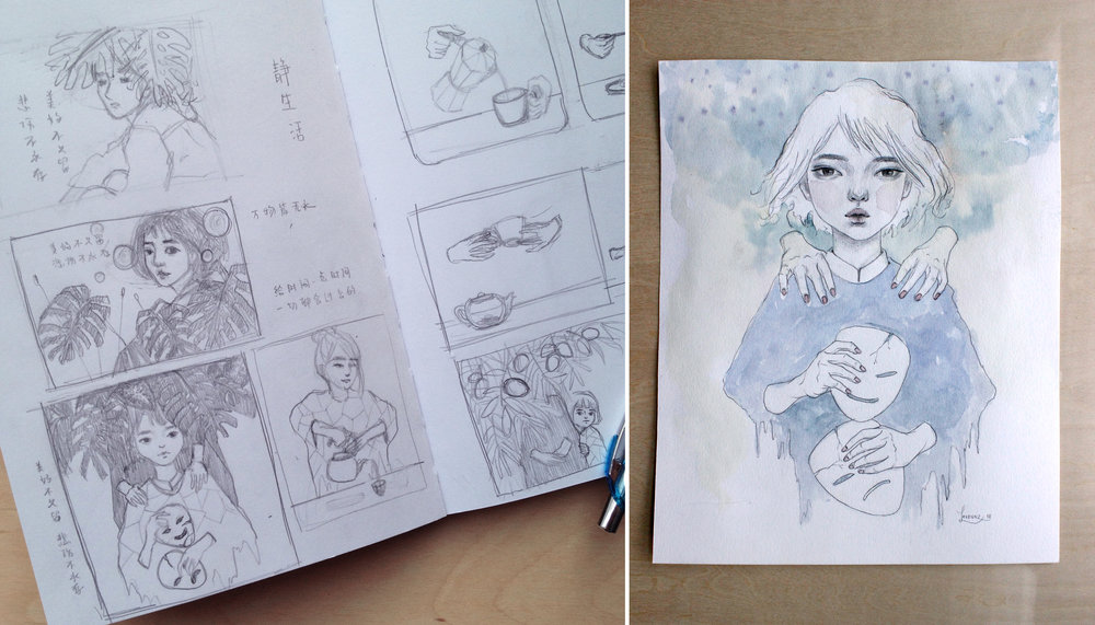 Thumbnail sketch,  concept sketch for new painting idea by Lavennz Ooi