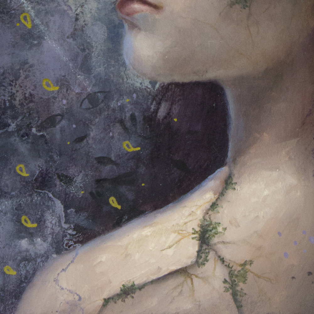 Snowdrops, four clover leaf, luck, moss, crack, hope, healing - oil painting by Lavennz Ooi for Gristle Art Gallery, 'Floriography' group show.