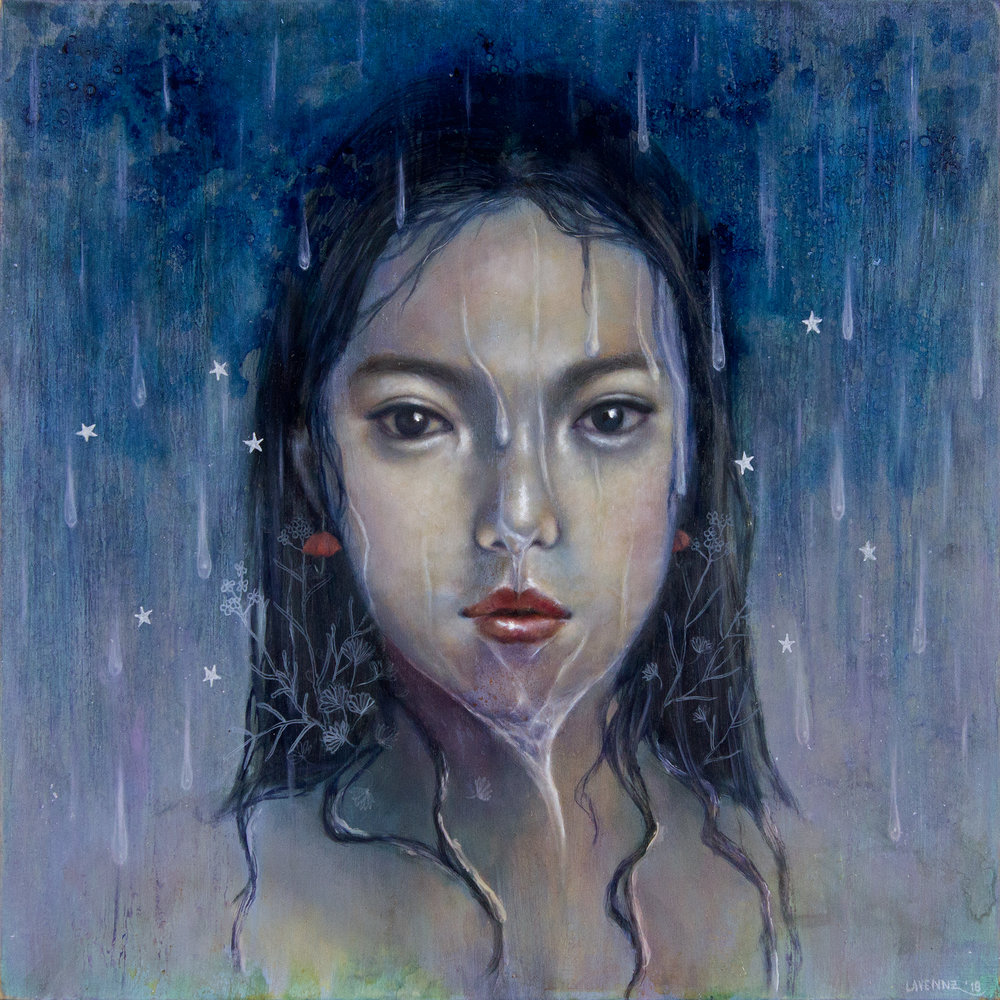 """In The Rain"", oil & acrylic painting on wood by artist, Lavennz Ooi, 2018 for Perfect 10 Group Show in La Bodega Gallery in San Diego, California."
