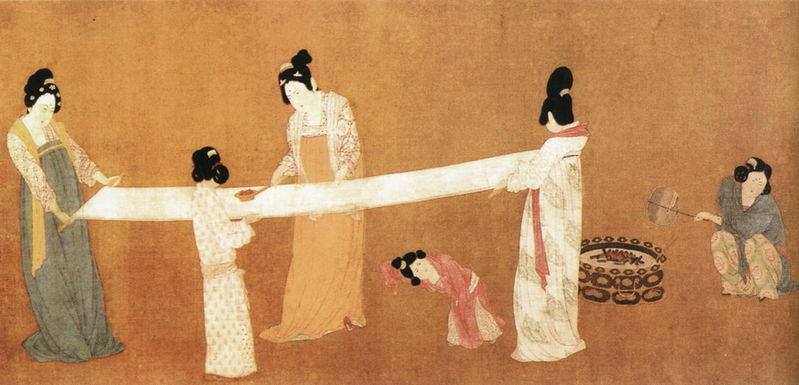 Court Ladies Preparing Newly-Woven Silk, copy of an 8th century painting by  Zhang Xuan , performed by  Emperor Huizong of Song