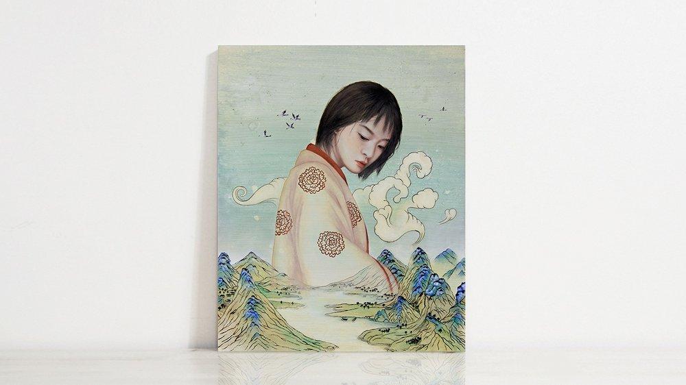 回音  huiyin / echo  oil, acrylic & ink on wood, 2018