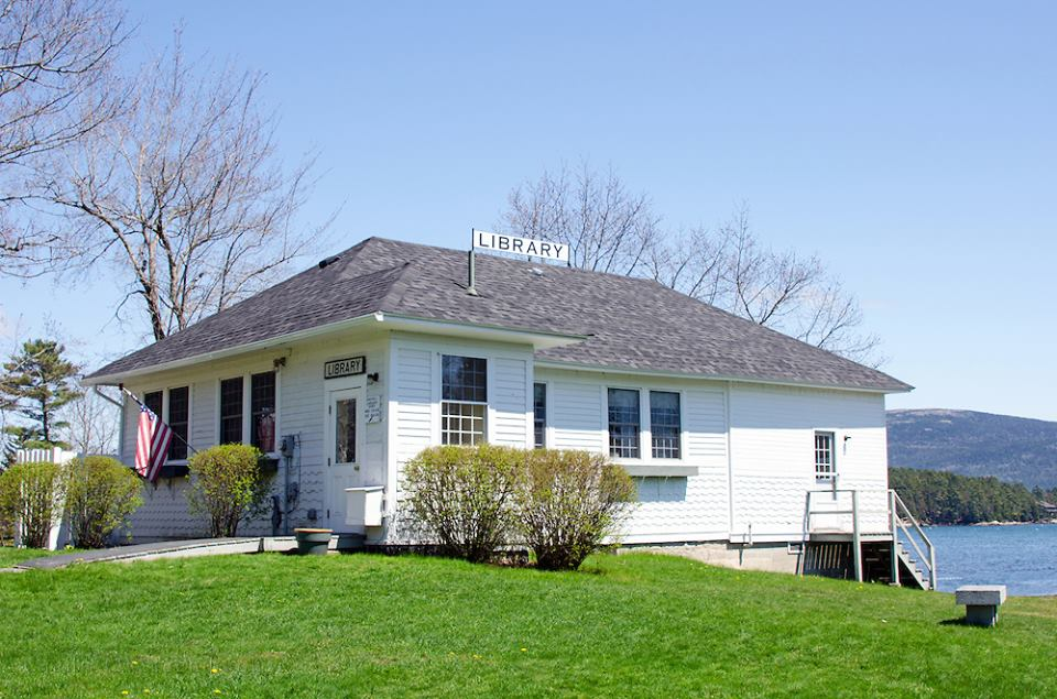 The Somesville library located in the heart of the town's village.