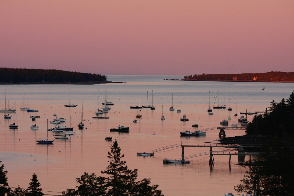 The sun setting on Southwest Harbor, a quaint town, just 5 minutes from Beechwood.