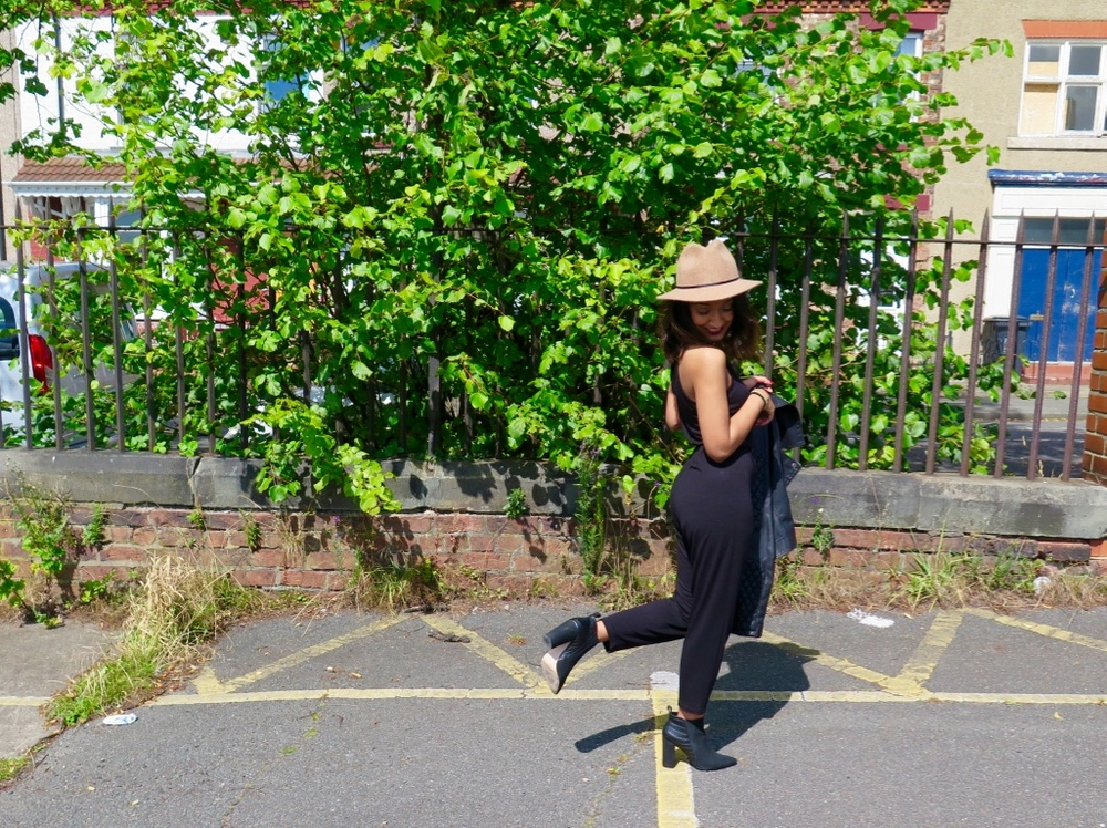 TOPSHOP PETITE BLACK JUMPSUIT, TOPSHOP TRILBY AND NEXT BLACK BOOTS