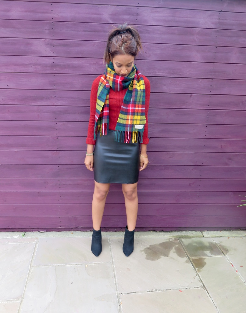 TOPSHOP PETITE TURTLE NECK, NEW LOOK PETITE FAUX LEATHER SKIRT, TOPSHOP SCARF, NEXT HEELED BOOTS