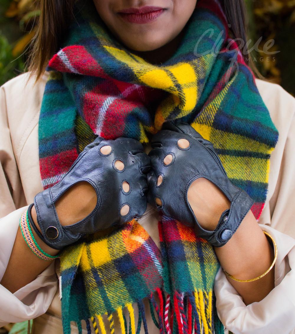 topshop scarf, black leather glovesASOS PETITE MAC, TOPSHOP CHECK SCARF, LEATHER GLOVES