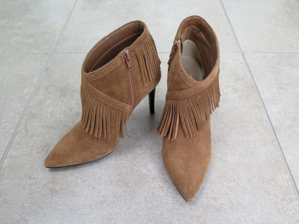 M&S Suede Fringe Trim Ankle Boots