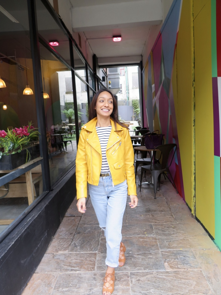 ZARA YELLOW FAUX LEATHER JACKE, TOPSHOP PETITE MOM JEANS, PRIMARK HEELED SANDALS, STRIPEY TOP