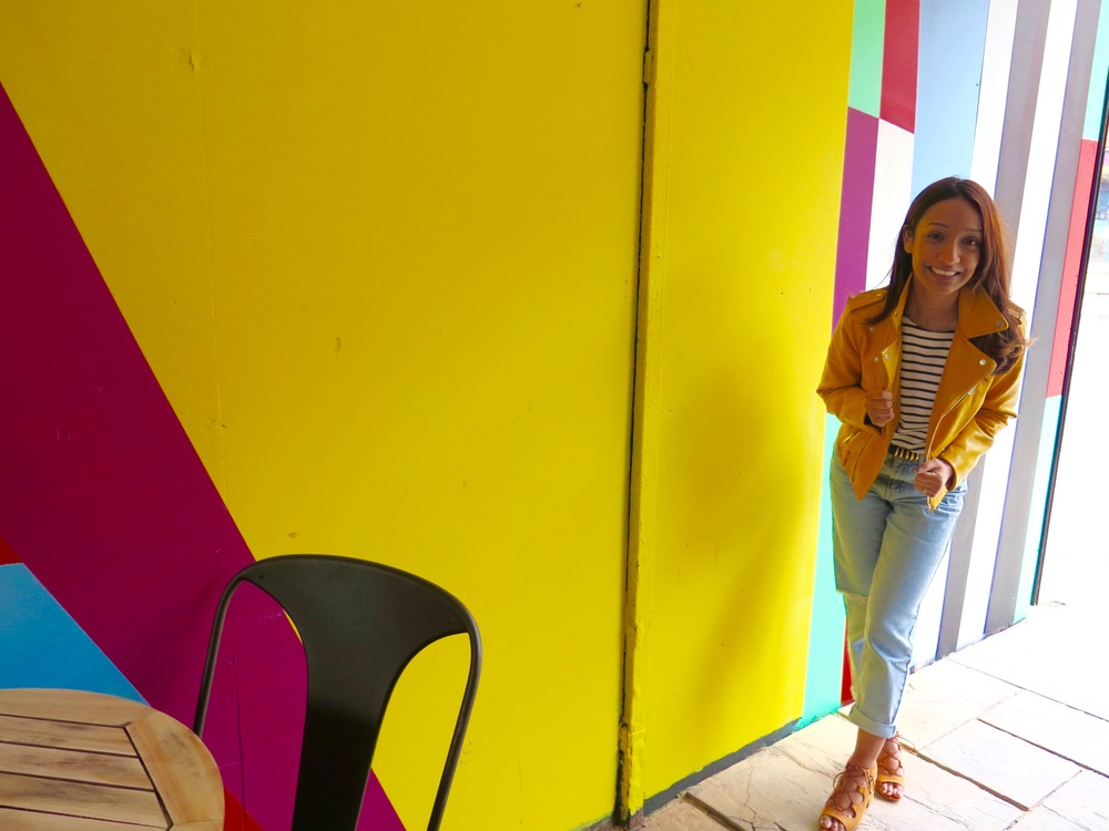 ZARA YELLOW FAUX LEATHER JACKET, TOPSHOP PETITE MOM JEANS, PRIMARK HEELED SANDALS, STRIPEY TOP