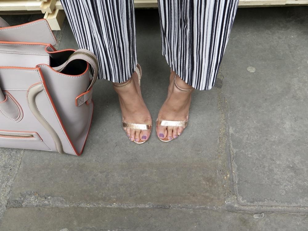 Glamorous Gold Sandal, Topshop Petite Culotte Trousers, Celine Handbag