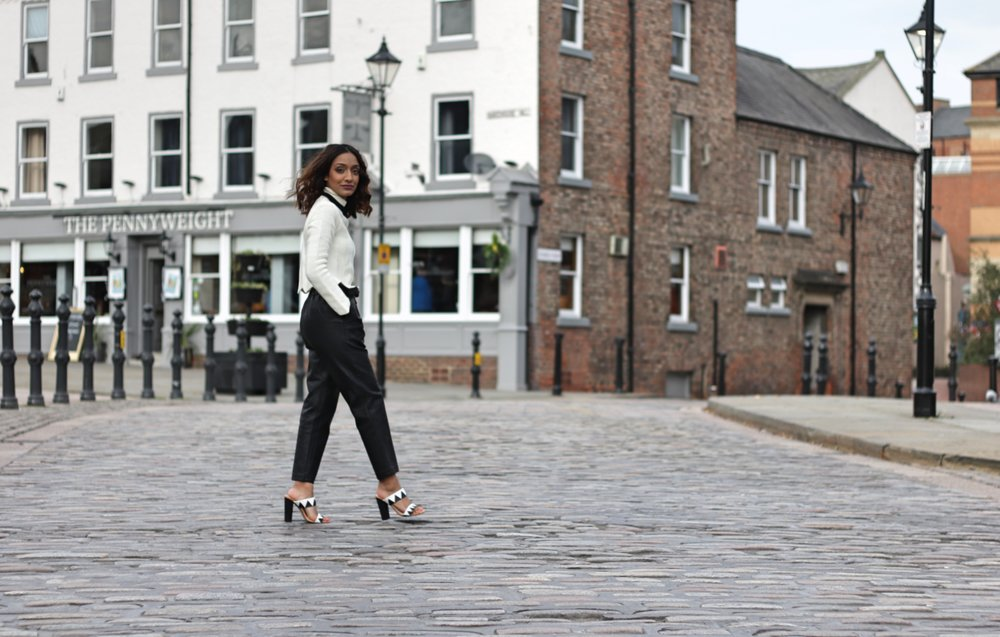 ASOS PETITE LEATHER LOOK JOGGERS, ASOS PETITE TURTLE NECK JUMPER AND MATALAN HEELS. MONOCHROME MAGIC.
