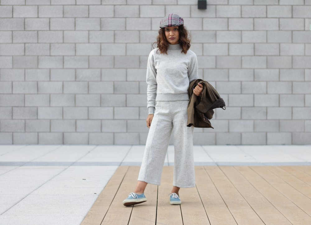 ASOS PETITE CULOTTE TROUSER AND TURTLENECK CO-ORD, VANS, BARBOUR WAX JACKET AND FLATCAP