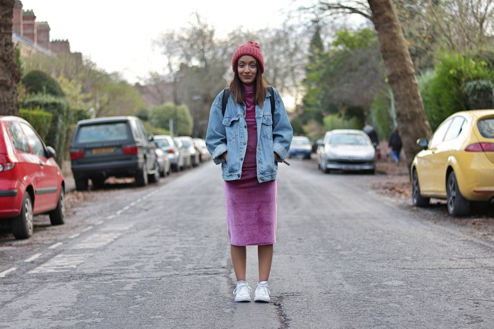 Asos petite velvet pink dress, denim jacket, converse and beanie