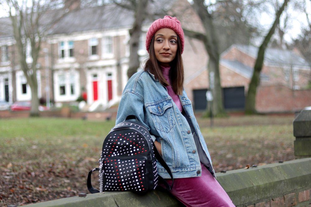 Asos petite velvet pink dress, denim jacket, converse, beanie and zara backpack