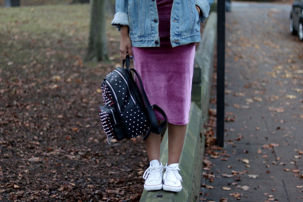 Asos petite velvet pink dress, denim jacket, converse and zara backpack