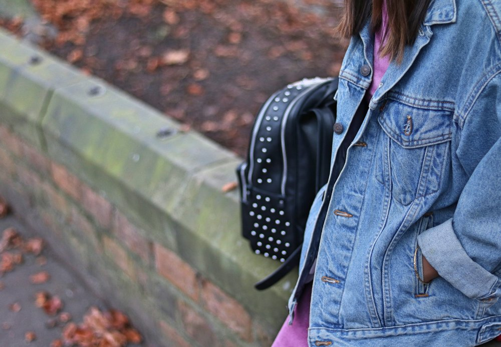 Asos petite velvet pink dress, denim jacket and zara backpack