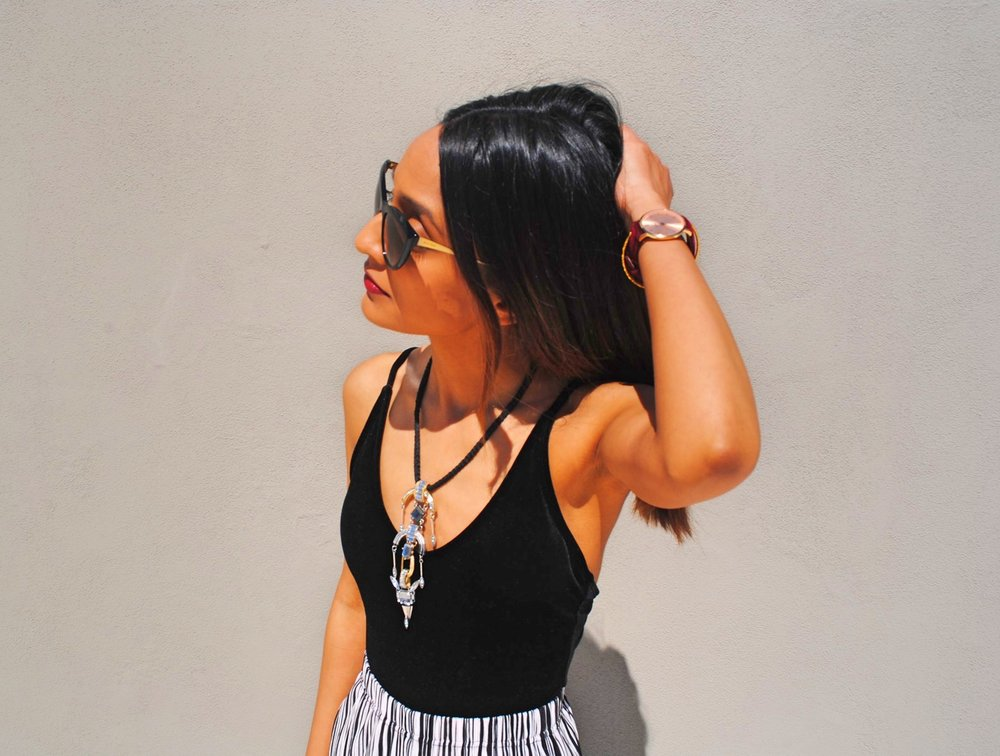 ZAFUL BLACK VELVET BODYSUIT, CONSTANTINE STATEMENT NECKLACE BY DAY BIRGER ET MIKKELSON