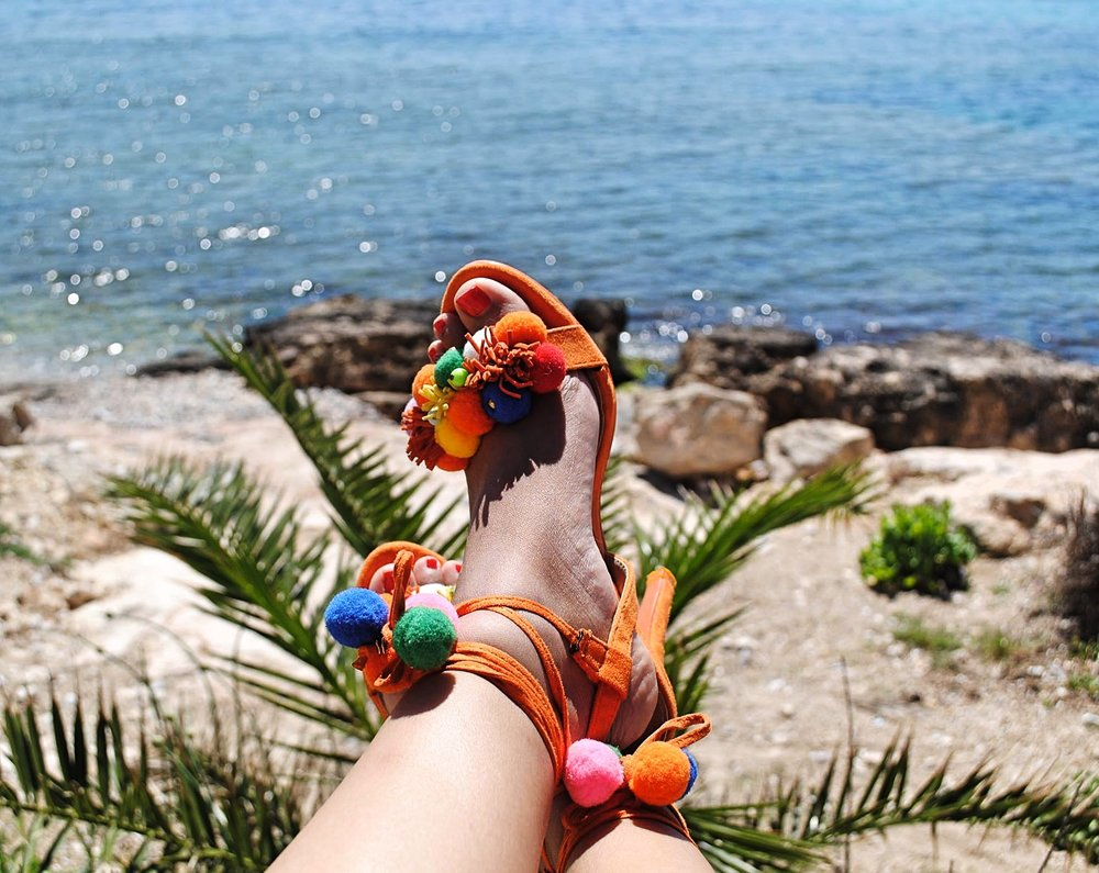 ORANGE IBIZA NIGHT HEELS FROM DLSB.CO.UK