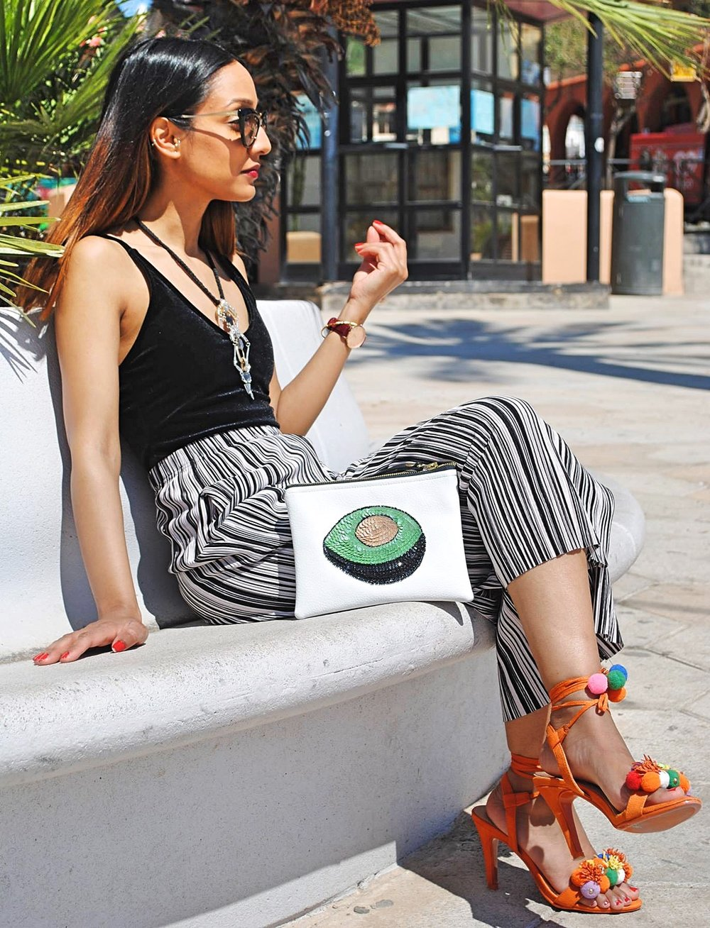 Tulum White Avocado clutch, ZAFUL BLACK VELVET BODYSUIT, CONSTANTINE STATEMENT NECKLACE BY DAY BIRGER ET MIKKELSON