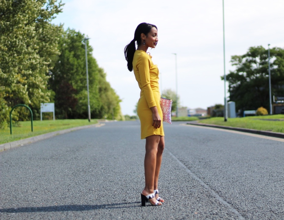 TOBI VALLEY MUSTARD BODYCON DRESS