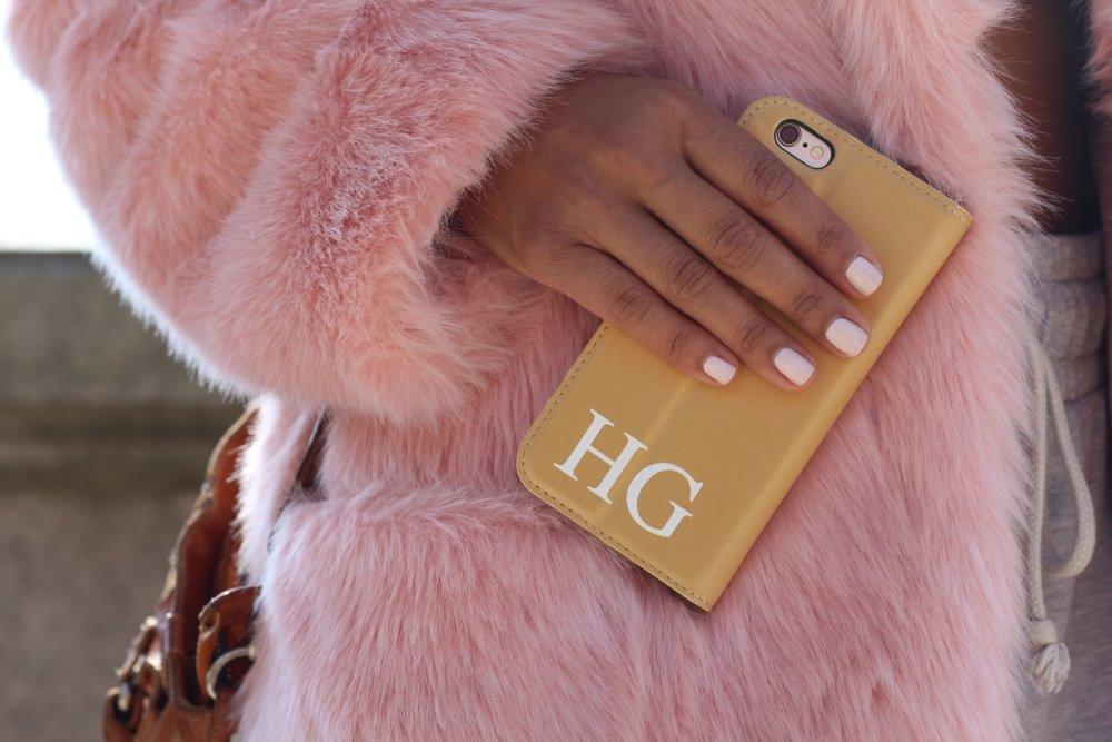 ASOS PETITE Midi Coat in Plush Faux Fur & Go Customized iPhone case