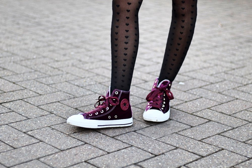 Converse Custom Purple Velvet High Tops