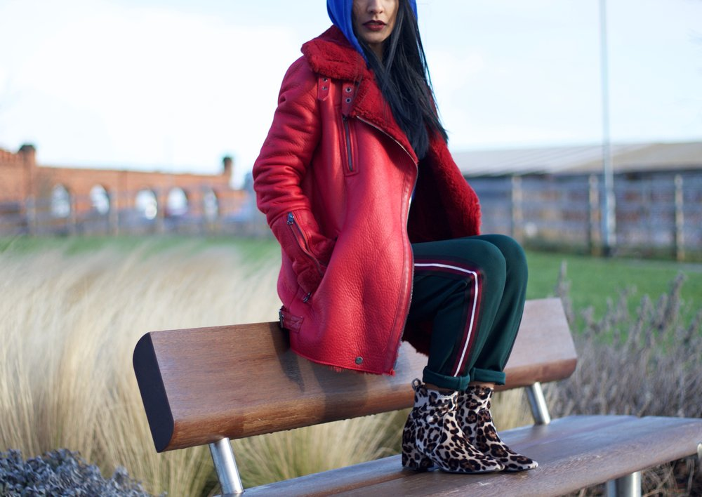 Bershka faux shearling biker jacket