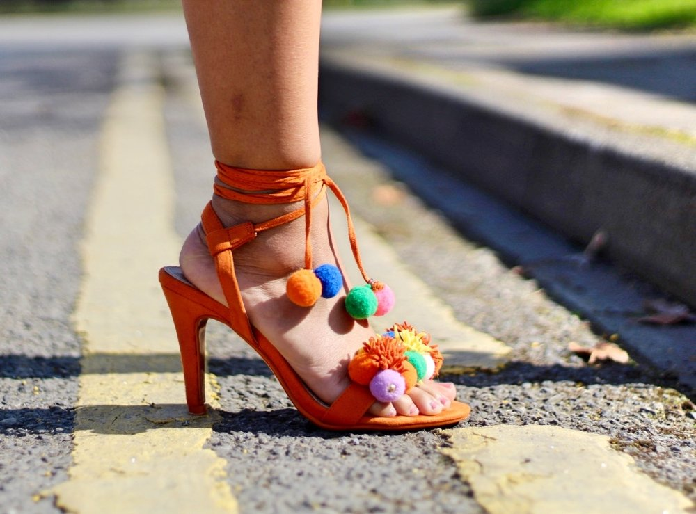 DLSB.CO.UK ORANGE IBIZA NIGHTS POM POM HEELS