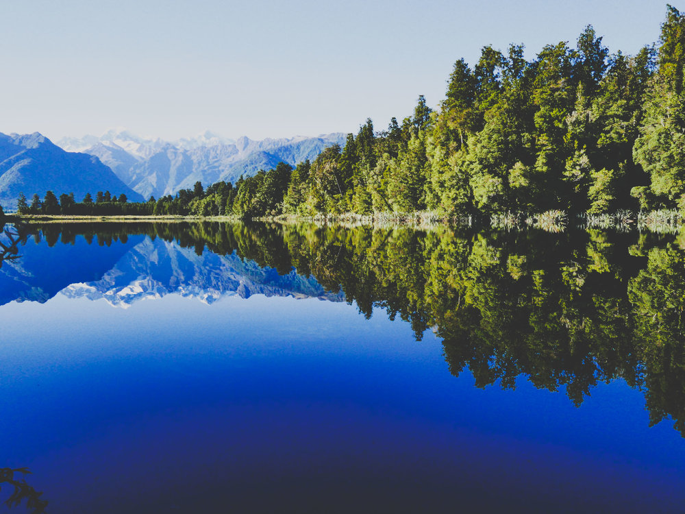 Glassy surface of Lake Matheson
