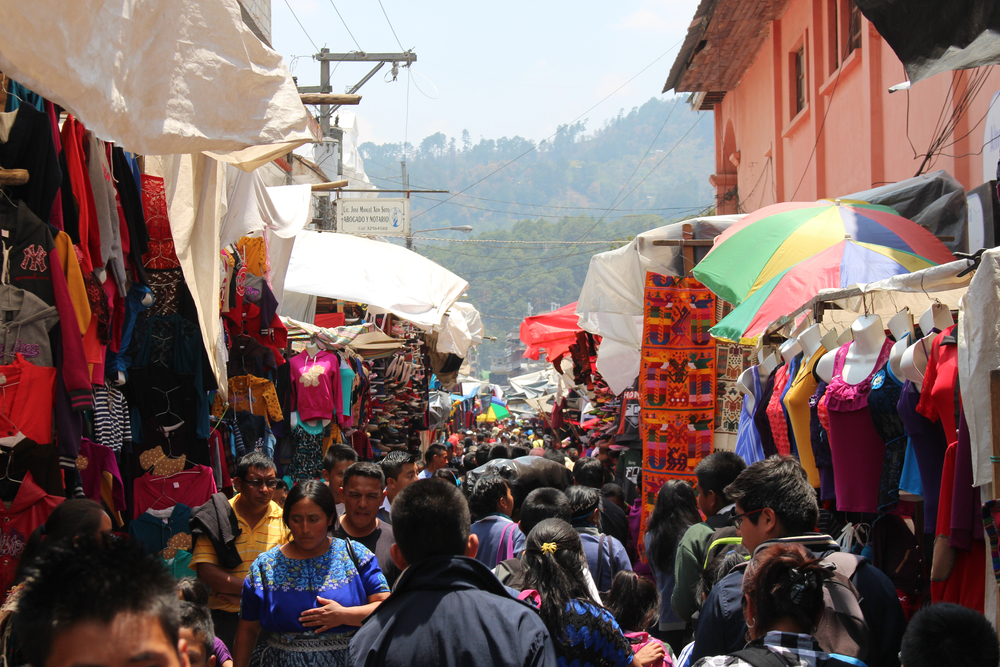 The bustling market at Chichicastenango, full of vibrant colours and Maya handcrafts