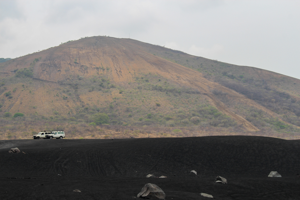 The black rocks of Cerro Negro volcano