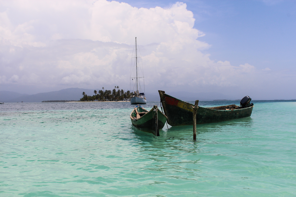 Wooden fishing boats in the shallows of San Blas