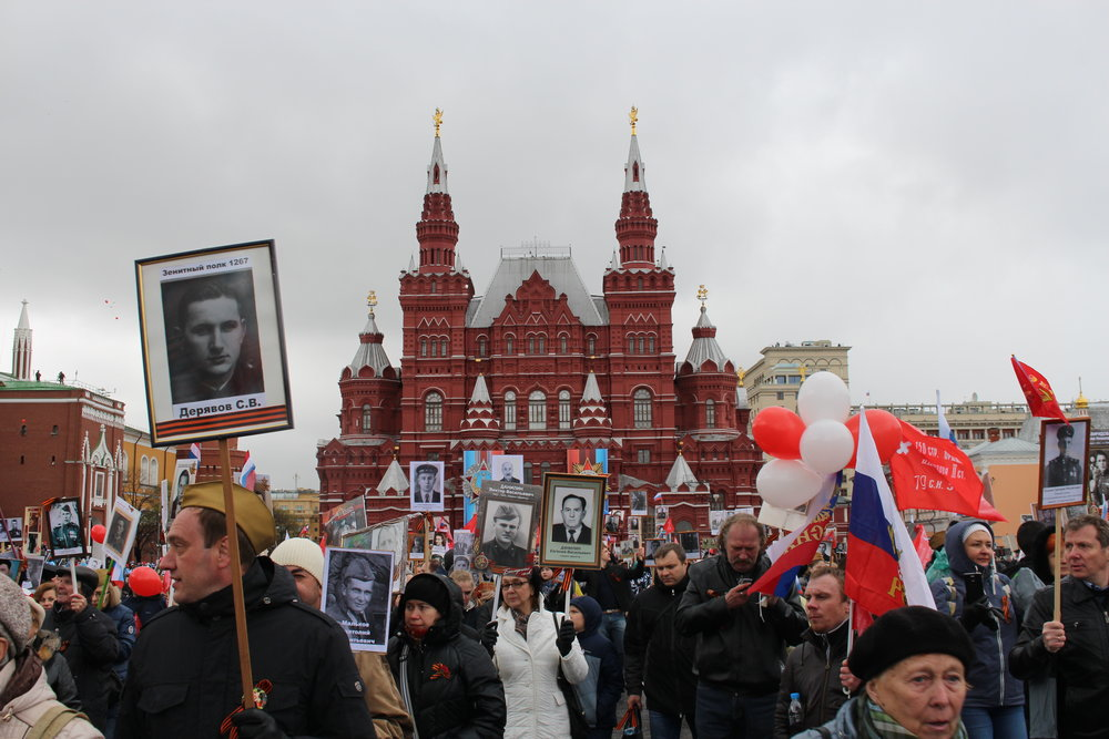 The 'Immortal Regiment' arrives in Red Square