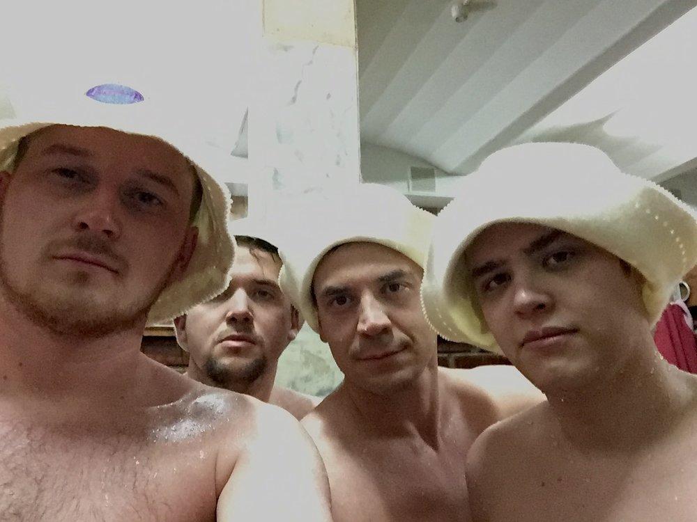 The boys, post-banya. (The hats are necessary)