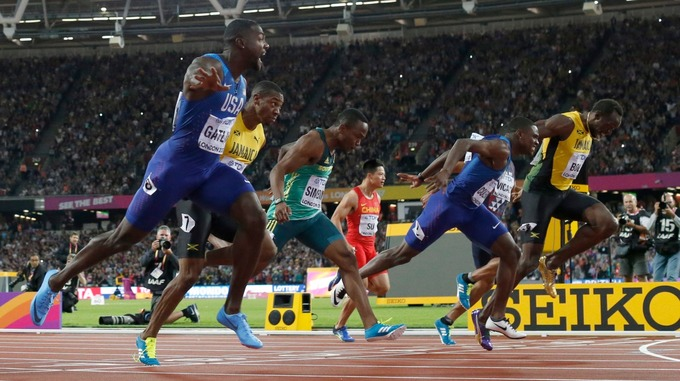 Justin Gatlin beats Christian Coleman and Usain Bolt to the 100m title in London, Credit: AP