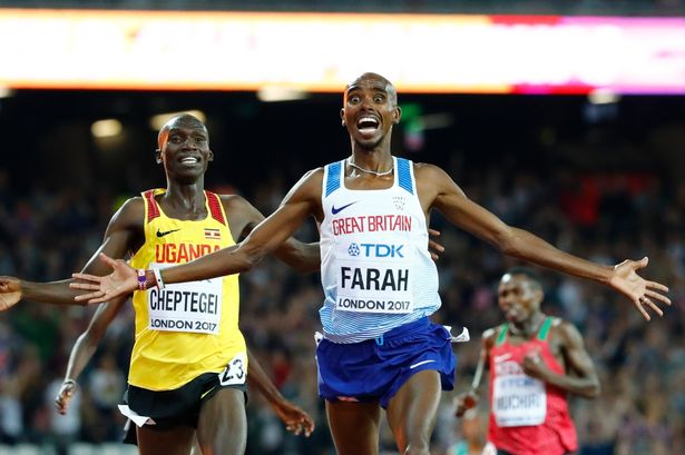 Farah celebrates winning the 5000m World Championship title, Credit: Reuters