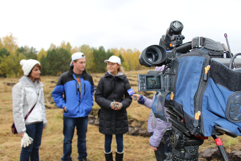 My Russian TV debut, at a tree-planting festival in Rybalovo, near Tomsk, September 2013
