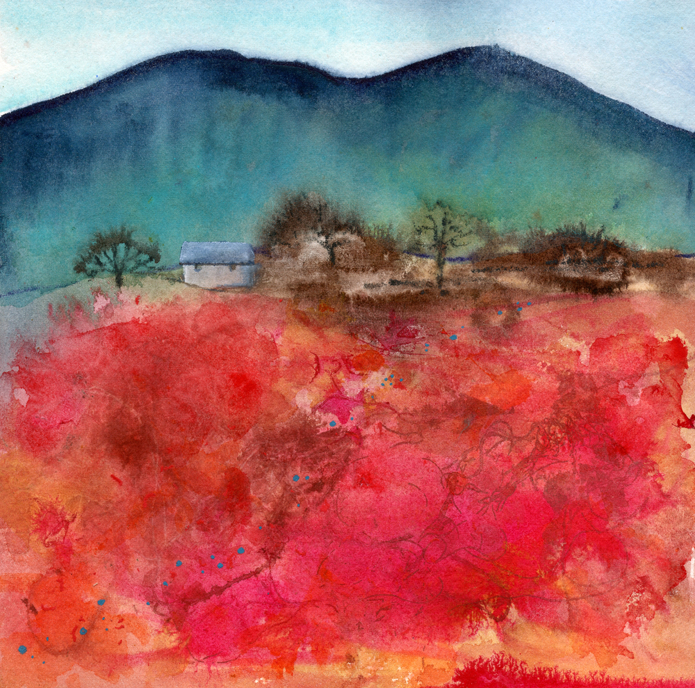 Landscape in Red and Teal
