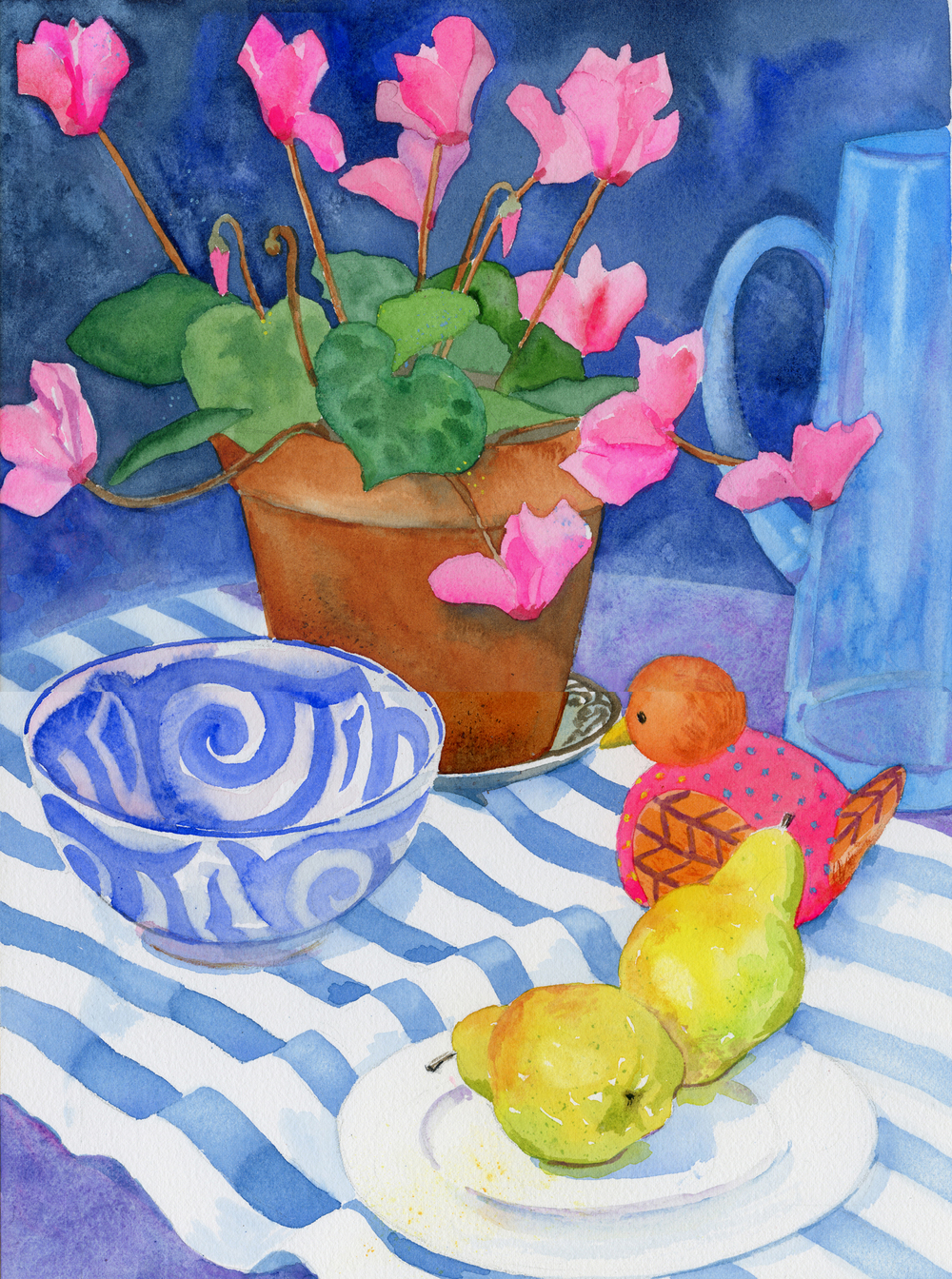 Still Life with Cyclamen and Pears