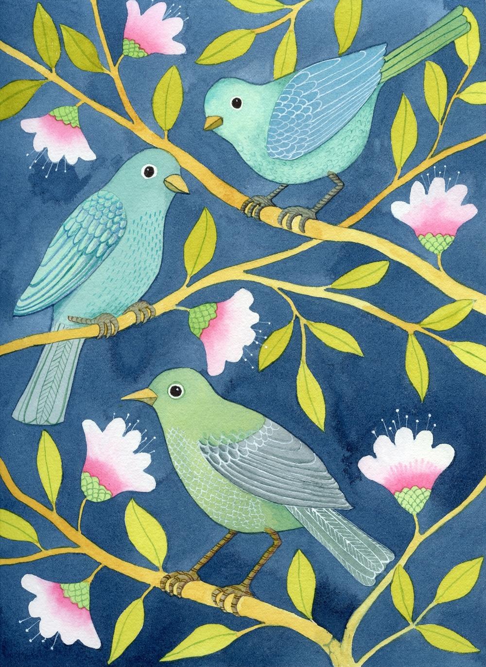 Three Birds on Indigo