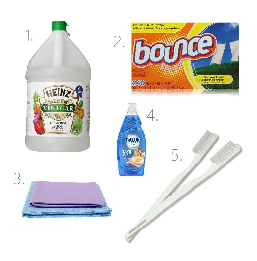 1.  White Distilled Vinegar  2.  Dryer Sheets  3.  Norwex Envirocloth  &  Norwex Window Cloth  4. Dawn Dish Soap   5. Tooth Brush