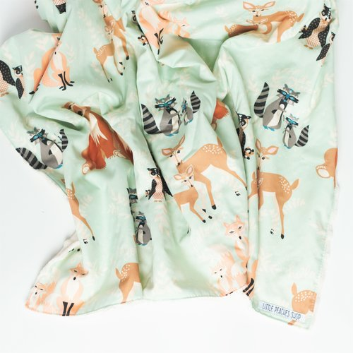 4ce35ad7f247e Minky Baby Blanket in Woodland Animal — Little Peaches Shop