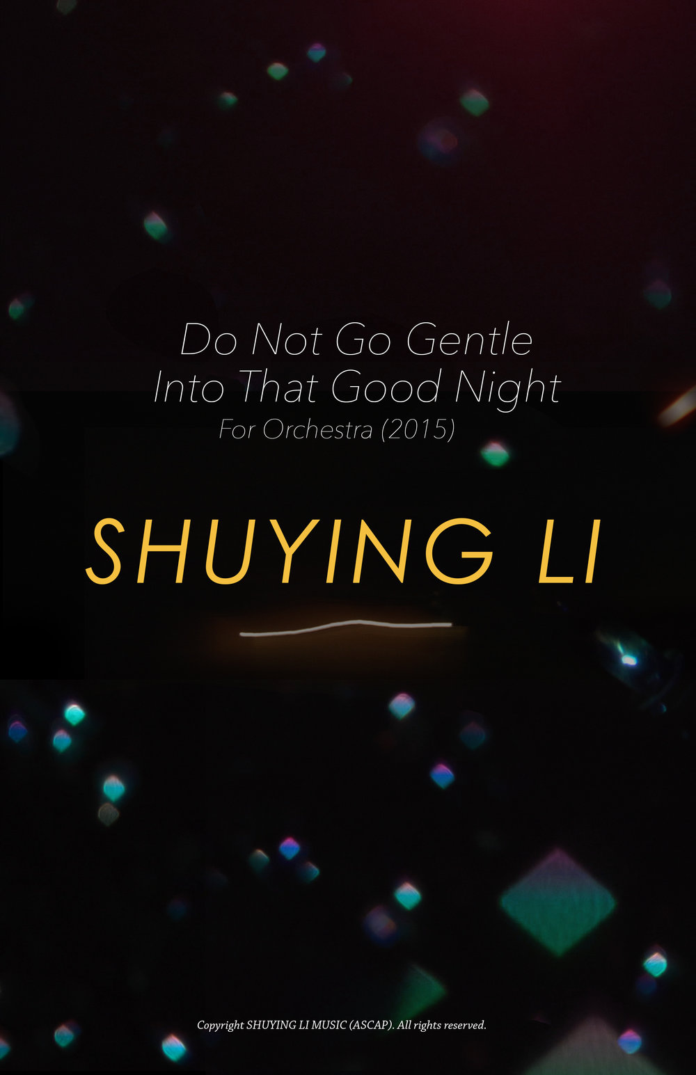 music score cover for Shuying Li