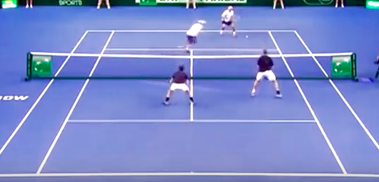 Bryan Brothers (Bottom) defending a ball to the right.  Notice the staggered position.
