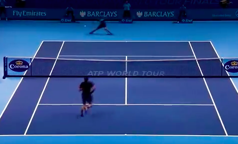 Notice the ball is in front of Federer on the approach, covering the middle and the line for potential passing shots.