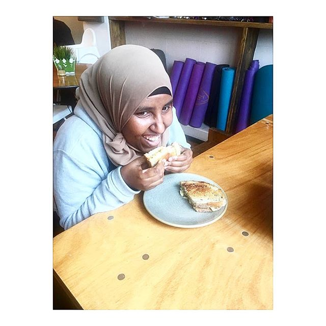 Our latest graduate from our work placement programme, Safia has been a pleasure to train and work with and her cappuccinos are outstanding!! Here she is enjoying  as demonstrated  by her beautiful smile our Tri Xmas Toastie...cheeses with a brussel sprout sweet potato and cranberry stuffing...it will be sure to bring out the festivities in all of us:). .  #triprana #socialenterprise #tottenham #notforprofit #workplacements #inclusive #lovelocal #heart #global #cafe #holistic #plantbased #meatfree #vegan #vegetarian #brunch #grilledcheese #sourdough #mentalhealthawareness #tottenham #mindbodysoul