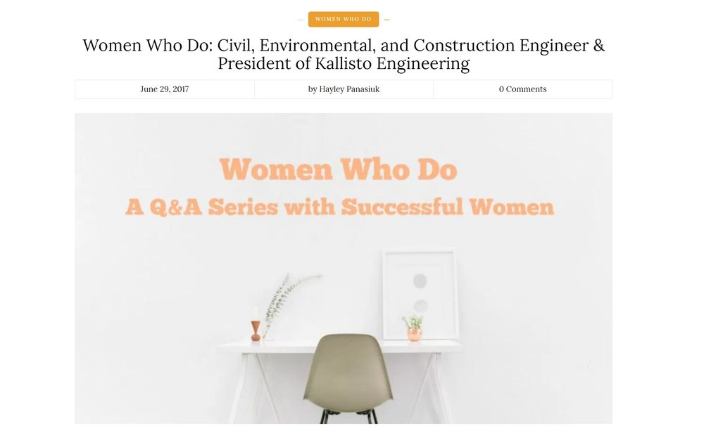 http://blog.unfoldcareers.com/women-civil-engineer/   Thank you Hayley Panasluk for featuring me and other women with STEM careers in  UNFOLD CAREERS !